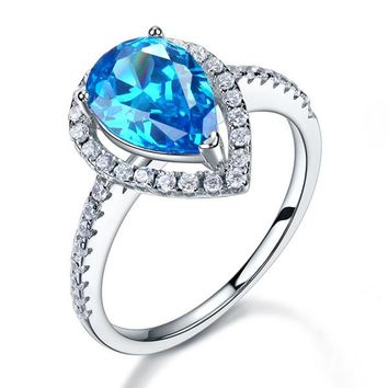 Sterling Silver Pear Cut Blue Ring with Crystal Gems