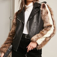 SHACI Faux Fur Moto Jacket