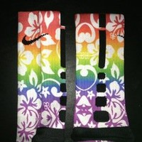 Aloha Customs — Rainbow Hawaiian Print Elite Socks