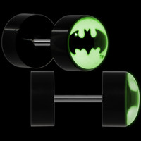 Officially Licensed Batman Black Glow in the Dark Cheater Plug Set | Body Candy Body Jewelry