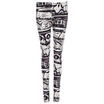 Trendy Handed-Painting Elastic Waist Print Skinny Leggings for Women