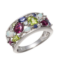 Rainbow colorful gemstone 925 sterling silver ring