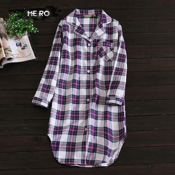 new hot sale Spring and autumn women's Long nightgowns purple plaid 100% cotton simple homewear sleepshirts for womens