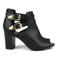 Mark and Maddux Eddi-02 Cut-out Short Heel Bootie in Black @ ippolitan.com