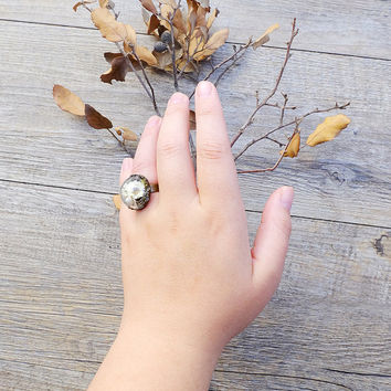Flower ring, terrarium ring, real flowers ring, botanical jewelry, dried flowers, real moss, vial, romantic jewelry, nature preserved