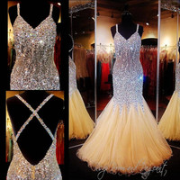 Luxury Mermaid Prom Dresses Sleeveless Spaghetti Cross Back Crystal Trumpet Pageant Dress Beads Vintage Plus Size 2016