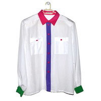 White Button Up Blouse Womens Shirts Pink Collar Purple Green Colorful Top Large L