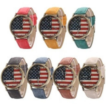 Punk women men's Fashion United States Flag wristwatch Denim Strap dial Quartz casual Retro Bracelet Watch popular goods [7671900934]
