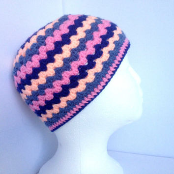 Girls Crochet Hat, Pink and Blue Stripes, Ages 4 to 8, Retro Style, Baby Pink Hat, Navy Blue, Hand Knit,Granny Style Hat, Peach colour hat