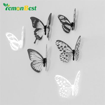 LemonBest 18 pcs 3D Butterfly Wall Sticker Romantic Decoration for Home Office Wall Stickers Art Decals For Kids Home Decoration