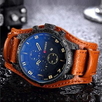 CURREN 8225 Luxury Brand Army Military Watches Men Clock Leather Strap Waterproof Analog Quartz Watches  [8833424076]