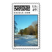 Snowy Path Blue Sky Postage Stamps