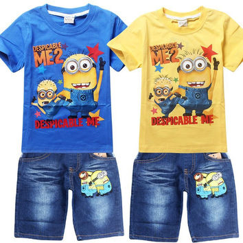 Children's suit despicable me 2 minion new boys Clothing Set Kids t-shirt jeans