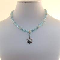 Little Girl Necklace Baby Blue Glass Pearl With Silver Turtle
