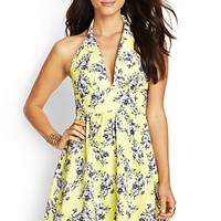 LOVE 21 Floral Halter Dress Yellow/Grey