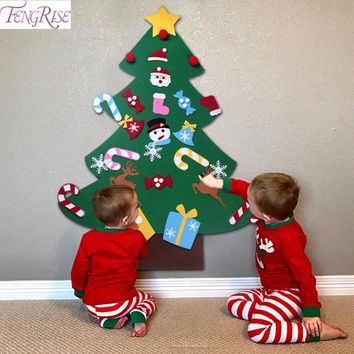 FENGRISE Kids DIY Felt Christmas Tree Decorations Xmas Hanging Ornaments Home Decor Happy New Year Children Christmas Gift