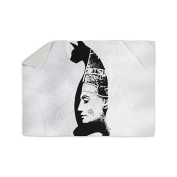 "Ivan Joh ""Cat Egyptian"" Black White Illustration Sherpa Blanket"