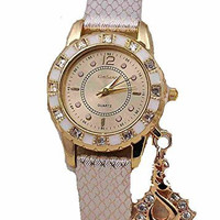 Gold and White Womens Watch w/ Rhinestones Swan Dangle Charm Leather Band