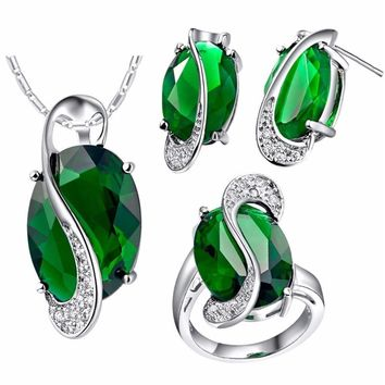 Uloveido Bridal Wedding Jewelry Sets for Ladies Crystal Fashion Earrings Ring Necklace Sets for Women Bridesmaid Jewellery T472