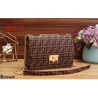 Fendi tide brand female retro fashion chain bag shoulder diagonal package Brown