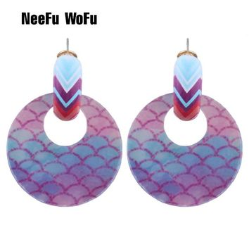 NeeFu WoFu Drop Round Resin Earrings Brand Metal printing Big Ea. Earring  ... 99aa0785dffb