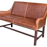 "Machester 46"" Leather Settee, Saddle, Settees"