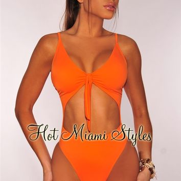 Tangerine Cut Out Tie Up Swimsuit