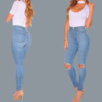 Casual Show Thin Broken Hole Jeans