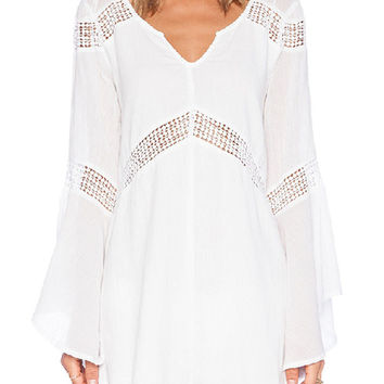 White Crochet Trumpet Sleeve High-Low Dress