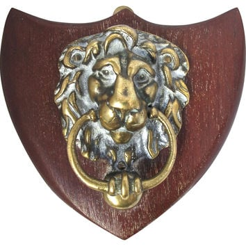Mounted Antique Brass Lion Door Knocker