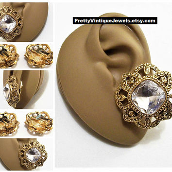 Avon Crystal Button Clip On Earrings Gold Tone Vintage Antiqued Round Slotted Open Band Nail Head Accent White Pads