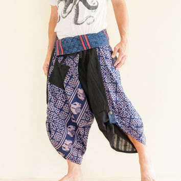 Size L/XL Unique Wrap Around Samurai Harem Pants (Blue Tribal Elephants)