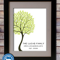 Family Tree Print with Family Name - Valentine Gift, Housewarming Gift, Anniversary Gift, Wedding Paper Gift, Gift for Wife