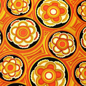 Vintage 60s 70s Op Art Psychedelic Print Cotton Fabric Yardage - 5.1 yds