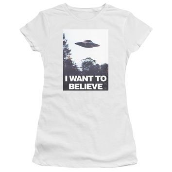 X Files - Believe Poster Short Sleeve Junior Sheer Shirt Officially Licensed T-Shirt