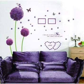 Romance Purple Dandelion butterfly Wall Stickers Photo Frame Home Decoration Wall Poster flower wall decals