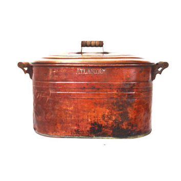 Vintage Copper Boiler, Primitive Wash Tub, Cauldron Pot, Rustic Farmhouse, Copper Tub, Outdoor Planter, Rustic Pot, Boiler Pot with Lid