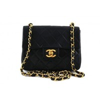 Chanel Black Classic Quilted Leather Mini 2.55 Flap Bag