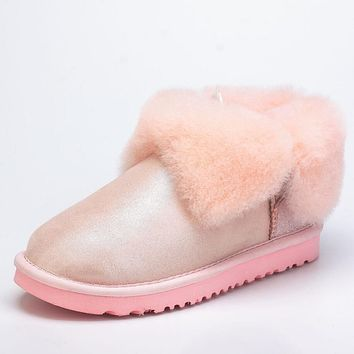 """UGG"" Popular Women Men Winter Four-Leaf Fur Snow Boots Warm Anti-Skid Short Boots Pink"