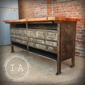 Vintage Butcher Block Steel Work Table Bench Tool Storage Drawers