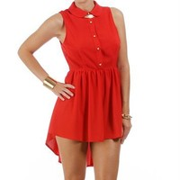 Red Peterpan Collar Tunic