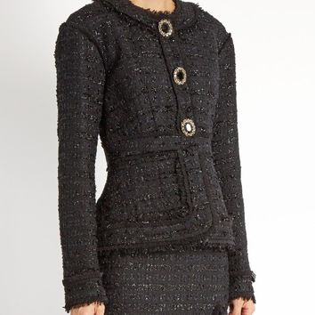 Karina frayed-edge tweed jacket | Erdem | MATCHESFASHION.COM US