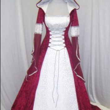 medieval wedding dress renaissance dress handfasting dress celtic wedding dress scottish widow hood custom made