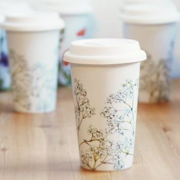 EcoFriendly Painted Ceramic Travel Mug Babys Breath by yevgenia
