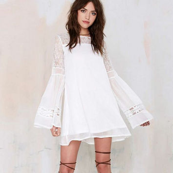 White Sheer Mesh Lace Folded Horn Sleeved Swing Dress