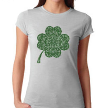 St. Patrick's Day Clothing - Intricate Celtic Knot Shamrock Crew Neck - Ladies