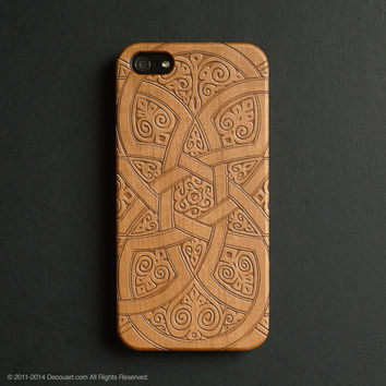 Real wood engraved floral pattern iPhone case S014