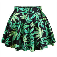 Marijuana Print Skirt Women Skirt Short Skirt Dress Cannabis Marijuana Clothing Pot Leaf Clothing = 5739011329