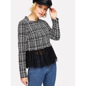 Dot Mesh Hem Tweed Top