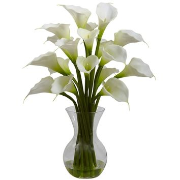 SheilaShrubs.com: Cream Galla Calla Lily w/Vase Arrangement 1299-CR by Nearly Natural : Artificial Flowers & Plants